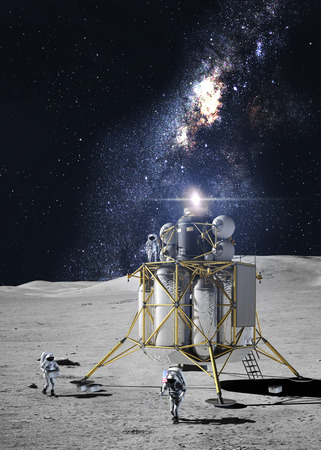 rover: Astronauts on the moon Stock Photo