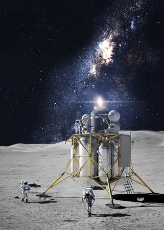 Astronauts on the moon Stock Photo
