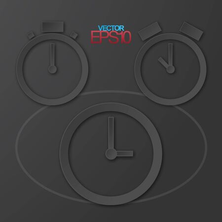 Modern flat design watches with drop shadows Vector