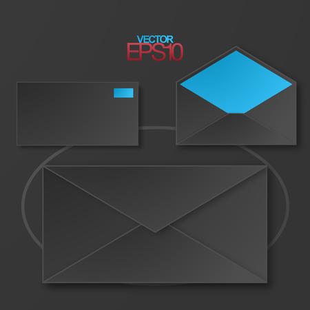 Modern flat design mails with drop shadows Illustration