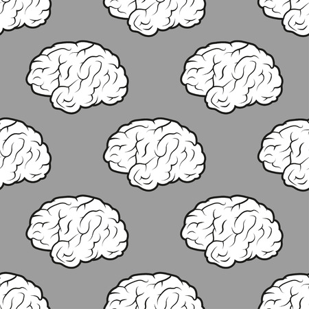telepathy: Seamless Brains on the grey background