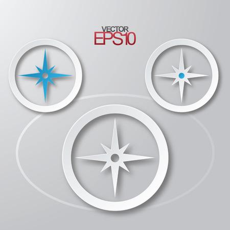 nautic: Modern flat design compass with drop shadows