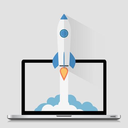 Start Up Concept Space Roket Modern Flat Design