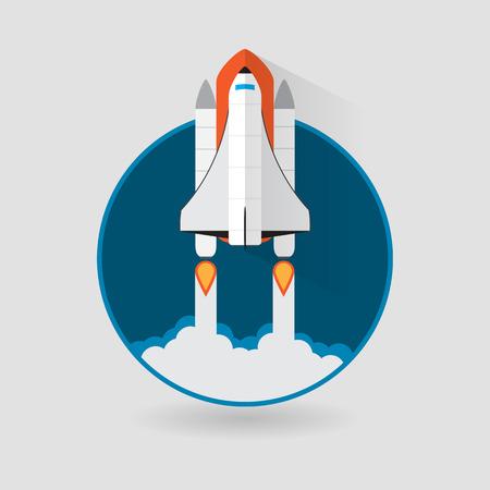 mision: Lanzamiento del transbordador espacial. Ilustraci�n vectorial