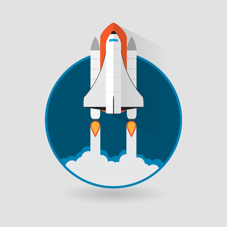 space station: Space Shuttle Launch. Vector illustration