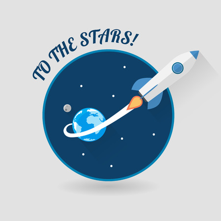rocket ship: Start Up Concept Space Rocket Modern Flat Design Illustration