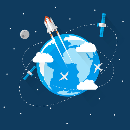 stabilizer: Blue Earth in space Icon Trendy Modern Flat Design Template Vector Illustration Illustration