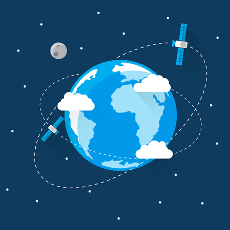 flat earth: Blue Earth in space Icon Trendy Modern Flat Design Template Vector Illustration Illustration