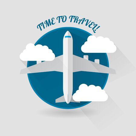 flight steward: Time to travel modern flat style plane icon Illustration