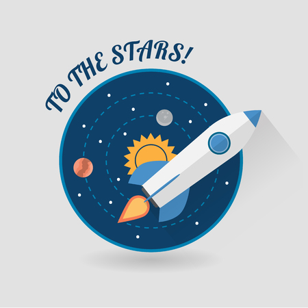 ship sky: Start Up Concept Symbol Space Rocket Ship Sky Icon Trendy Modern Flat Design Template Vector Illustration