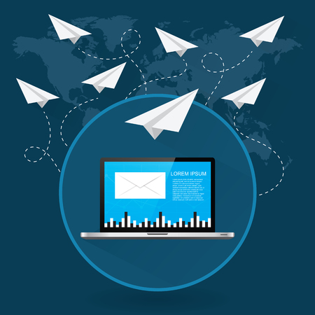 Mails flying around the world as paper airplanes Illustration