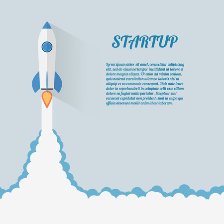 Start Up Concept Space Rocket Modern Flat Design Çizim