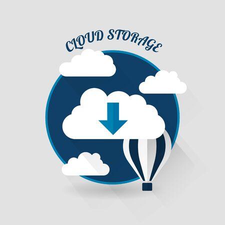 Flat vector design of the cloud storage Vector