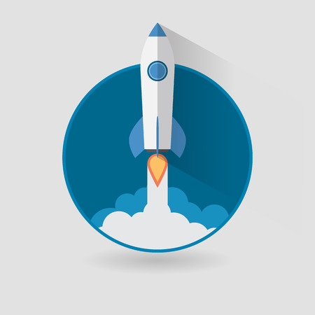 rocketship: Start Up Concept Space Rocket Modern Flat Design Illustration
