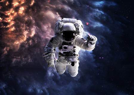space background: Astronaut in outer space.