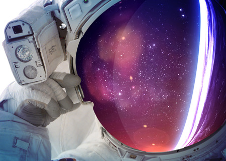 deep space: Astronaut in outer space.  Stock Photo