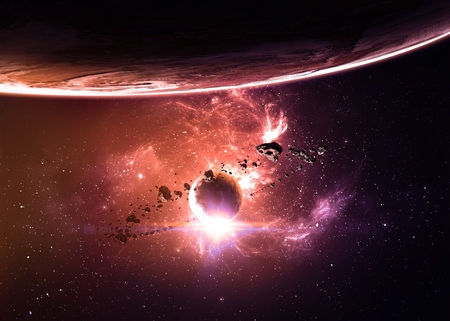 nebulae: Planets over the nebulae in space.