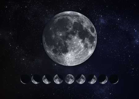 phases: Moon Phases.  Stock Photo