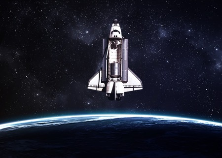 fantasy fiction: Space shuttle taking off on a mission.