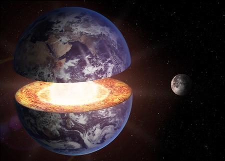 globo terrestre: Estructura del n�cleo de la Tierra.