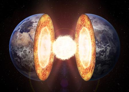 Aarde kernstructuur. Stockfoto