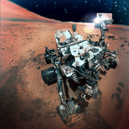 rover: The Mars rover image on Mars. Stock Photo