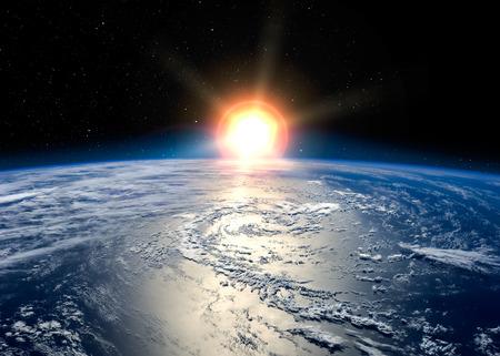 raum: Erde mit der aufgehenden Sonne. Lizenzfreie Bilder