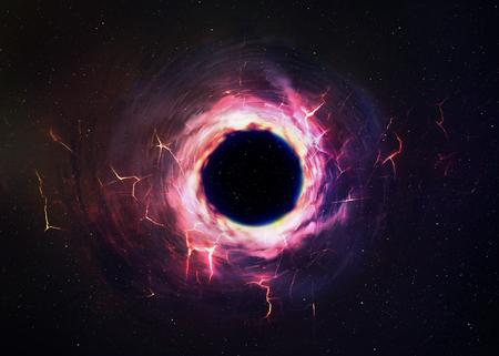 schwarz: Schwarzes Loch im Raum.