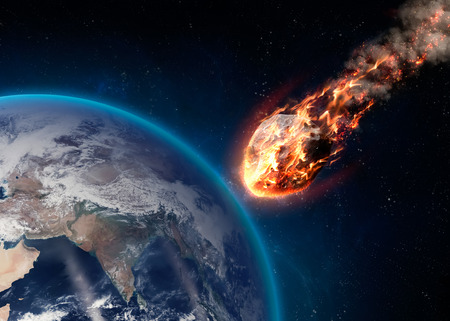 vaporized: A Meteor glowing as it enters the Earths atmosphere.  Stock Photo