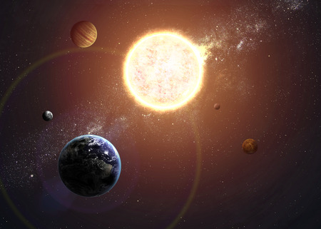 raumschiff: Illustration des Sonnensystems, die Planeten um Sonne.