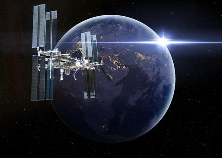 orbital spacecraft: Space Station Orbiting Earth.  Stock Photo