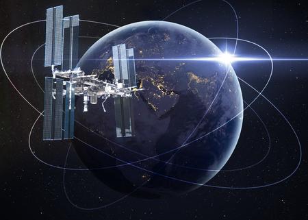 raum: Raumstation umkreisender Erde.