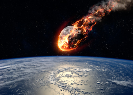 Meteor zářící při vstupu do zemské atmosféry.