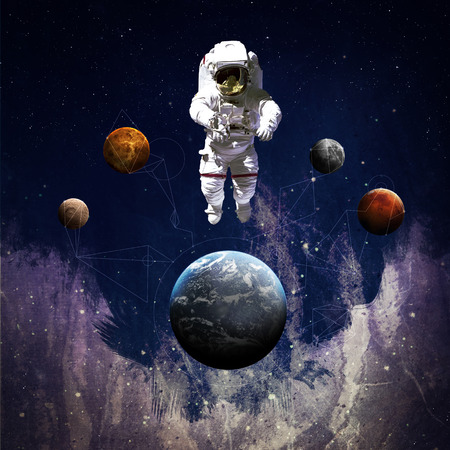 Astronaut in outer space modern art.  写真素材
