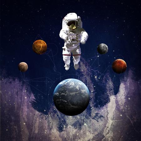 arte moderno: El astronauta en el espacio exterior el arte moderno. Foto de archivo