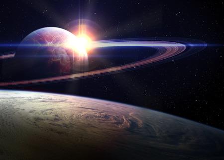 planeten: Fantastischer Sonnenaufgang im Raum.