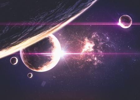 planeten: Planets über den Nebel im Raum.