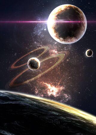fantasia: Planetas mais nebulosas no espaço. Banco de Imagens