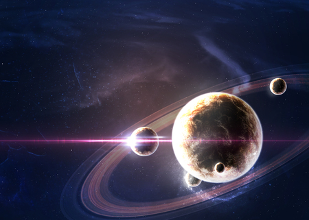 system: Planets over the nebulae in space.