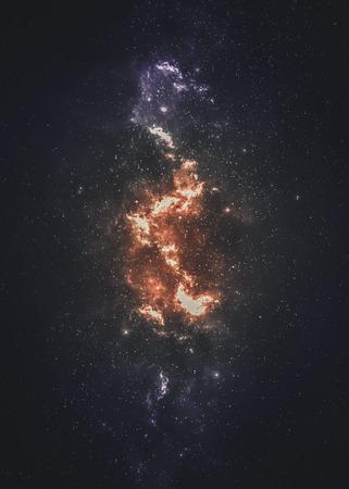 noche y luna: Campo de estrellas en el espacio profundo a muchos años luz lejos de la Tierra.