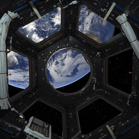 earth from space: Earth planet in space ship window porthole
