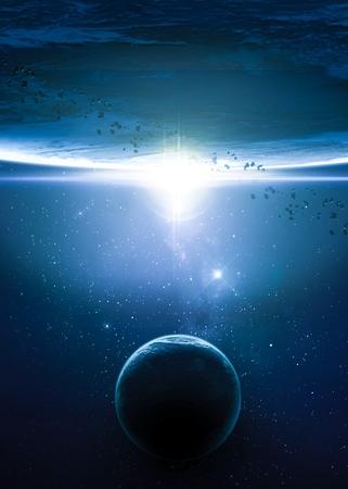 Planety nad mlhovin v prostoru.
