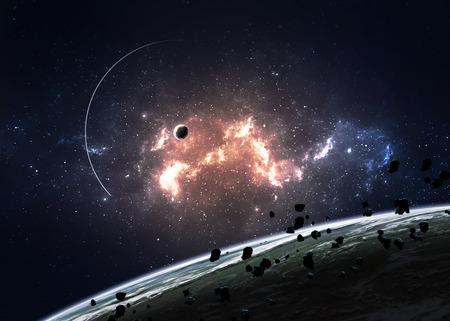 공간의 성운을 통해 행성입니다. 스톡 콘텐츠