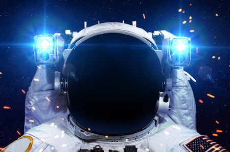 cosmonaut: Astronaut in outer space.  Stock Photo
