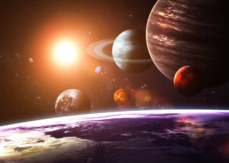 Solar system and space objects.