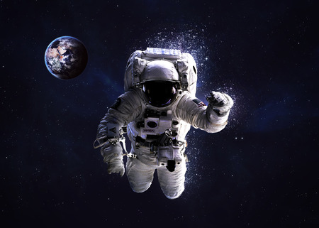 floating: Astronaut in outer space.  Stock Photo