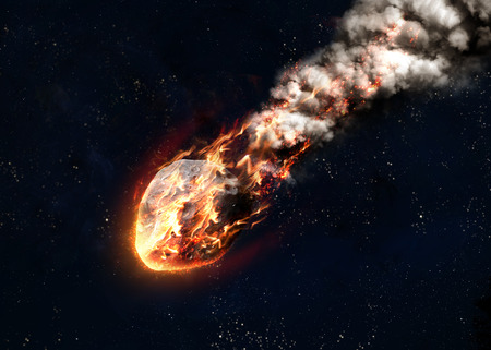 enters: Meteor glowing as it enters the Earths atmosphere. Elements of this image furnished by NASA Stock Photo