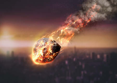 vaporized: Meteor glowing as it enters the Earths atmosphere. Elements of this image furnished by NASA Stock Photo