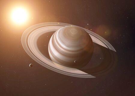 Kleurrijk schot dat deel van Saturnus en zijn ringen verlichte zonnestralen toont. Stockfoto
