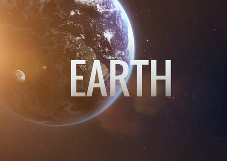 jupiter light: Lettering on the background of the Earth. Stock Photo